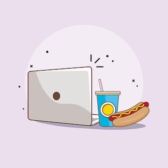 Laptop fastfood plat ontwerp