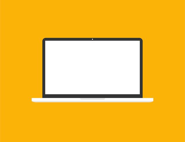 Laptop in trendy vlakke stijl met leeg scherm. notitieboekje met leeg scherm
