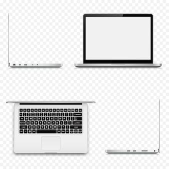 Laptop in verschillende posities op transparante achtergrond