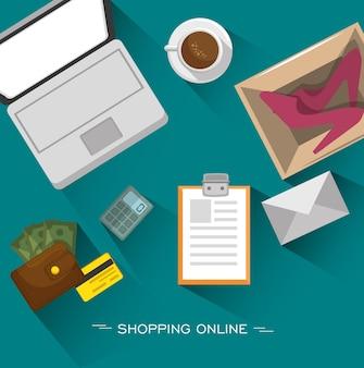 Laptop koffie en winkelen gerelateerde objecten van bovenaf gezien
