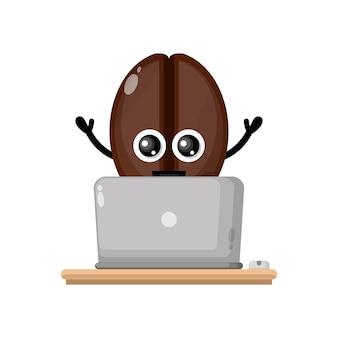 Laptop koffiebonen schattig karakter mascotte