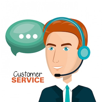 Laptop man klantenservice call center ontwerp