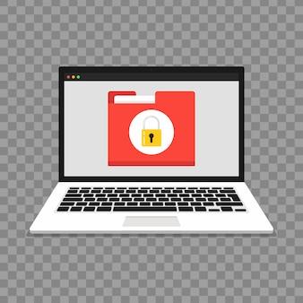 Laptop met bestandsbescherming op transparante achtergrond. gegevensbeveiliging en privacy concept. veilige vertrouwelijke informatie.