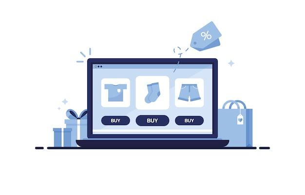 Laptop met een online winkel waar kledingcatalogus t-shirt, sokken en korte broeken toont. blauw
