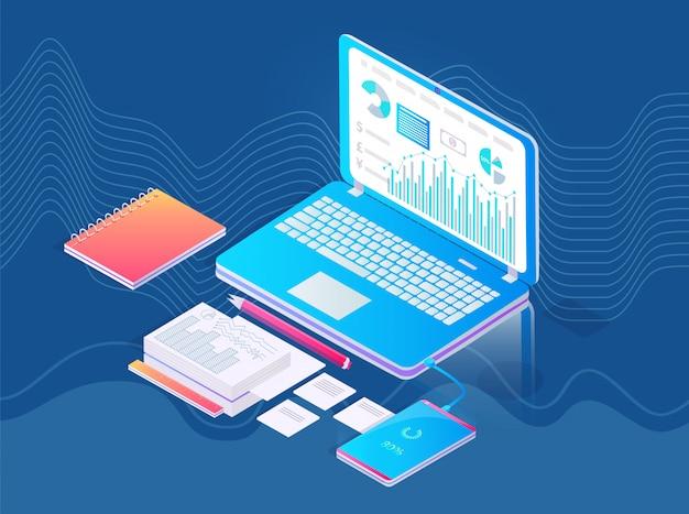 Laptop met extra spullen op tafel werkplekconcept