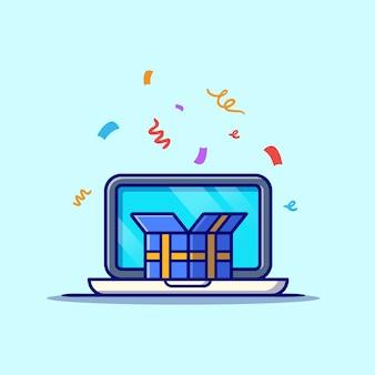 Laptop met geschenkdoos cartoon pictogram illustratie. zakelijke technologie pictogram concept geïsoleerd. platte cartoon stijl