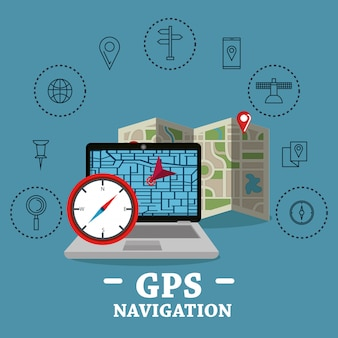Laptop met gps-navigatiesoftware
