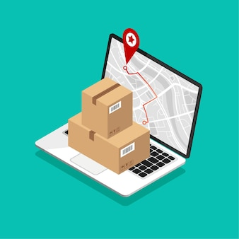 Laptop met kaartnavigatie op het scherm. kartonnen dozen en technologieleveringsconcept met gps.