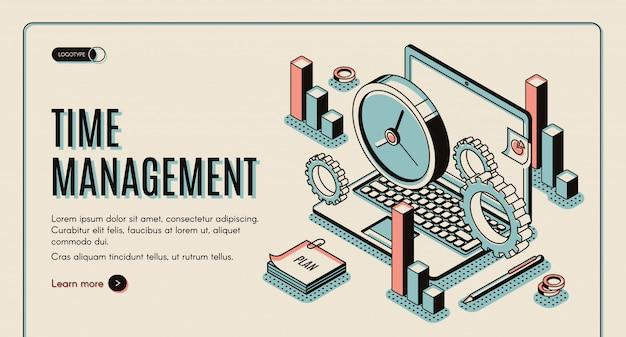 Laptop met kantoorartikelen en -horloges, taakprioritering, organisatie voor effectieve productiviteit.