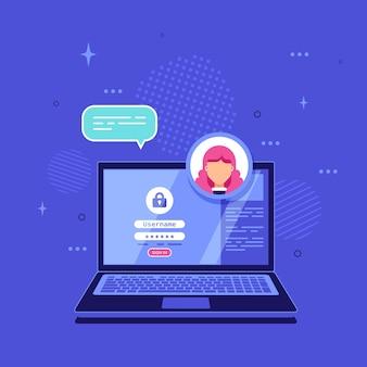 Laptop met login en wachtwoordformulierpagina op het scherm