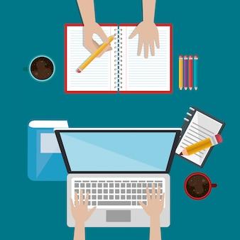 Laptop met onderwijs eenvoudig e-learning pictogrammen