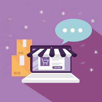 Laptop met online markt om te winkelen