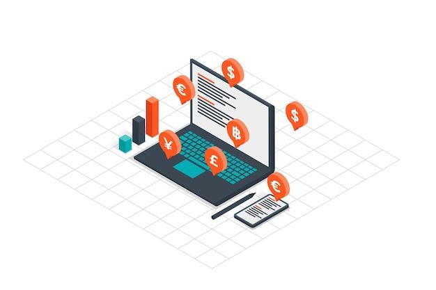Laptop met online verdiensten in isometrie