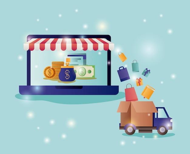 Laptop met parasol en e-commerce pictogrammen