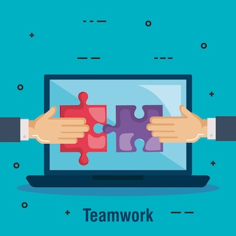 Laptop met puzzelspel teamwerk
