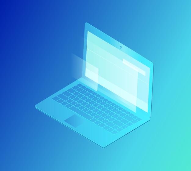 Laptop met scherm geïsoleerde vectorillustratie