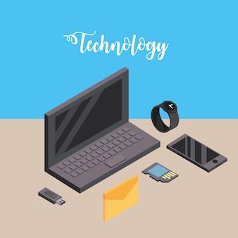 Laptop met smartphone en smartwatch-technologie verbinden