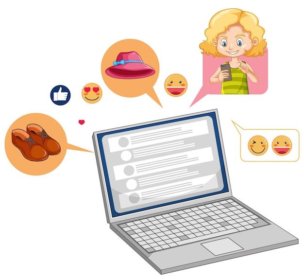 Laptop met sociale media emoji pictogram stripfiguur geïsoleerd op een witte achtergrond