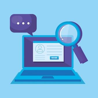 Laptop met sociale media marketing pictogrammen