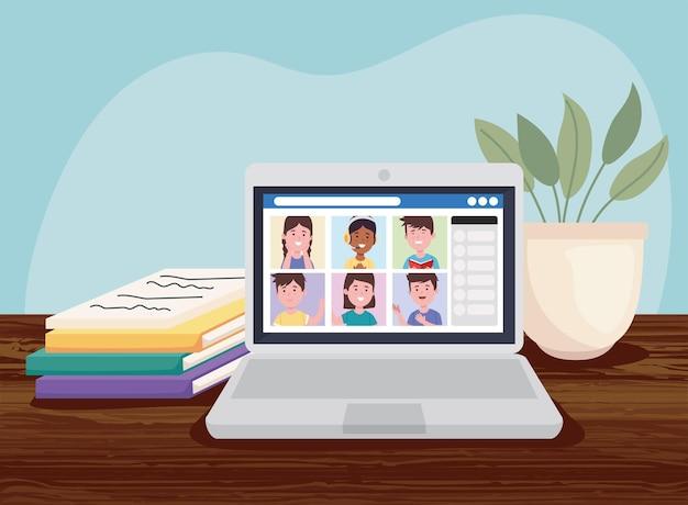 Laptop met studenten