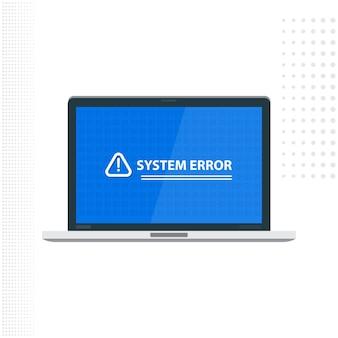Laptop met systeemfoutmelding op blauw achtergrondweergave vectorillustratieontwerp
