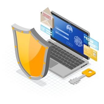 Laptop met vertrouwelijke gegevensbescherming