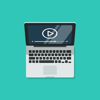Laptop met videospeler en scherm