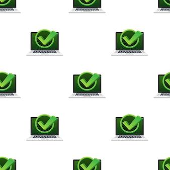 Laptop met vinkje of tikmelding in bellenpatroon. goedgekeurde keuze. accepteer of keur het vinkje goed. vector illustratie.