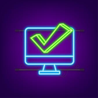 Laptop met vinkje of tikmelding. neon icoon. goedgekeurde keuze. accepteer of keur het vinkje goed. vector illustratie.