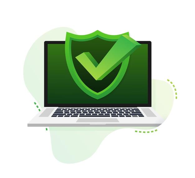 Laptop met vinkje of vinkje in bellenpatroon goedgekeurde keuze
