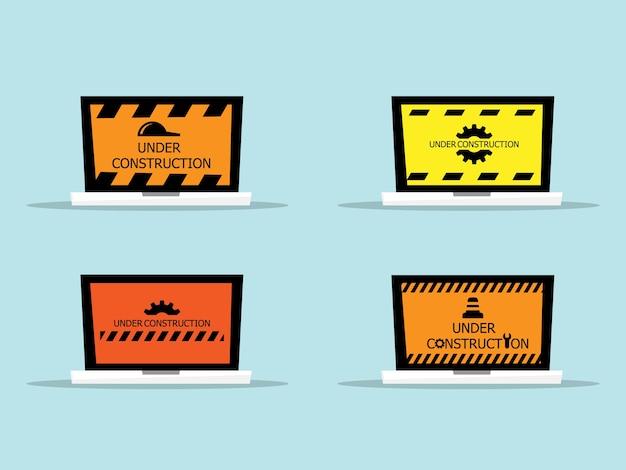 Laptop met website in aanbouw bericht illustratie plat ontwerp