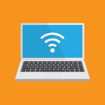 Laptop met wifi signaal op een scherm. computerscherm sjabloon. geïsoleerd. wi-fi-concept.