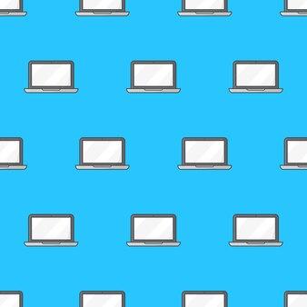 Laptop naadloos patroon op een witte achtergrond. laptop computer thema vectorillustratie