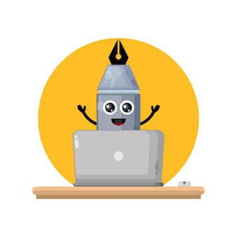 Laptop pen schattig karakter mascotte