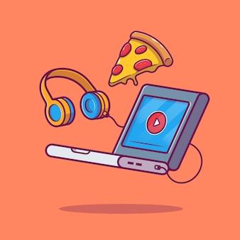 Laptop, pizza en koptelefoon pictogram illustratie. technologie en voedsel concept geïsoleerd