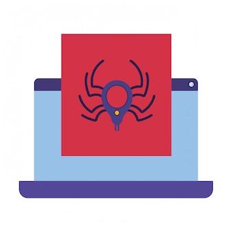 Laptop scherm met venster en spin geïsoleerde pictogrammen
