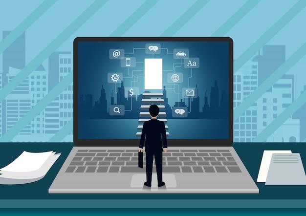 Laptop schermweergave van een zakenman die voor het scherm staat, loopt de trap op naar de deur
