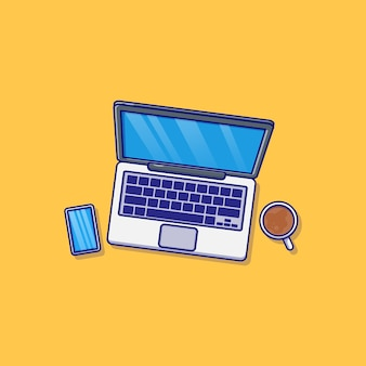 Laptop smartphone en kopje koffie vector illustratie ontwerp