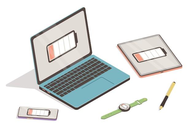 Laptop, smartphone, tablet en smartwatch met pictogram voor bijna lege batterij