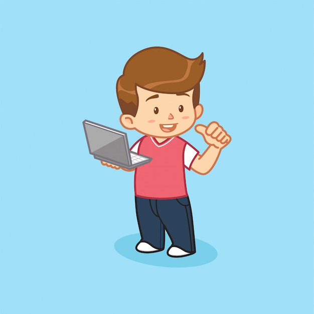 Laptop van de jongensholding mascottekarakter