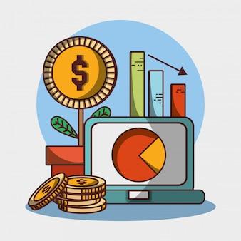Laptop van het de installatiemuntstukken van het grafiekrapport het geld financiële zaken