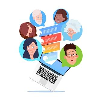 Laptop verkoop trechter mix race chat bubbels ondersteunen virtuele hulp van website of mobiele applicaties