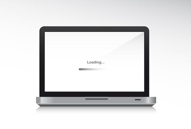 Laptop voorzijde met schaduw laden