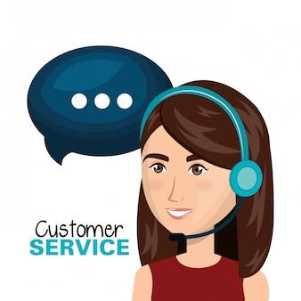 Laptop vrouw klantenservice call center ontwerp
