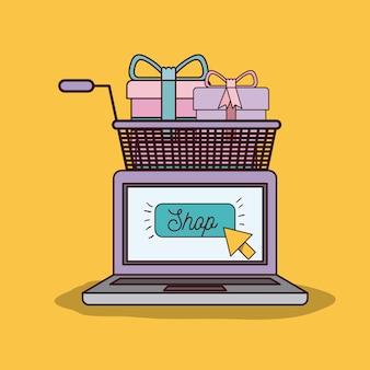 Laptopcomputer en winkelwagentje vol geschenken