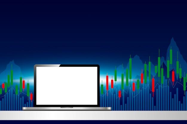Laptopcomputer met effectenbeurs