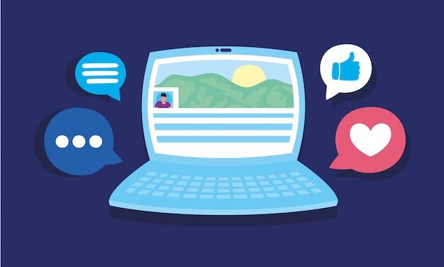 Laptopcomputer met sociale media communicatie