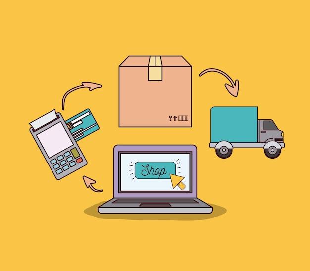 Laptopcomputer met stappen van online winkelen en bezorgen