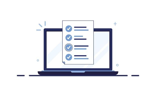 Laptopmonitor met ingevuld aanvraagformulier, document of takenlijst. blauw