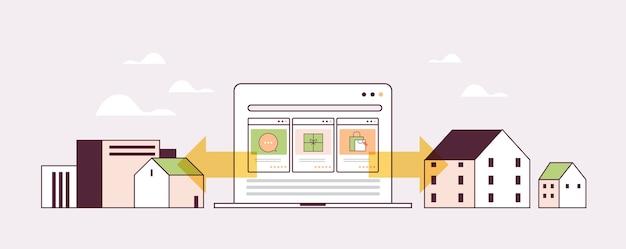 Laptopscherm met pictogrammen voor online winkelen e-commerce slim inkopen